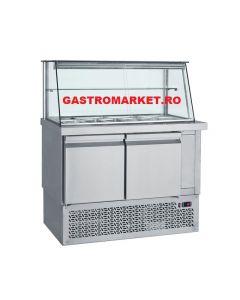 Vitrina refrigerata salate fast food– saladette, capacitate 9 GN1/4, dimensiuni, 110x70x130 cm