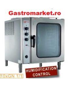 Cuptor pe gaz convectie cu injectie de abur, capacitate tavi 10x1/1 GN
