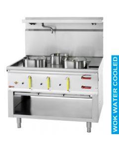 Masina de gatit wok pe gaz cu 3 arzatoare, putere  2x Ø 290 mm 23,82 kW si 1x Ø 230 mm 11,25 kW.