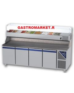 Masa refrigerata pentru pizza cu vitrina ingrediente cap. tavi 1/3, 4 usi, temperatura de lucru 0+10grC, capacitate 816 lt