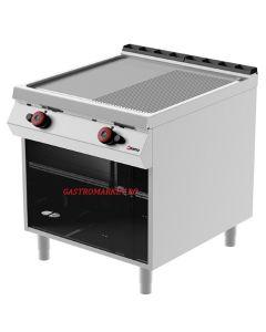 Gratar fry-top pe gaz CROMAT LINIA 900 suprafata mixta 1/2 striata si 1/2 neteda