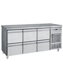 Masa rece inox cu 6 sertare, temperatura de lucru 0-10grC