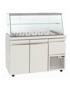 Saladeta vitrina refrigerata, capacitate 12 tavi GN1/4, dimensiuni, 134x70x129 cm