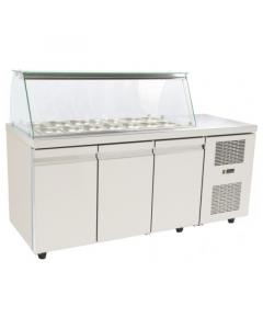 Saladeta vitrina refrigerata, capacitate 14 tavi GN1/4, dimensiuni, 179x70x129 cm