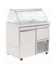 Saladeta vitrina refrigerata, capacitate 8 tavi GN1/4, dimensiuni, 89x70x129 cm