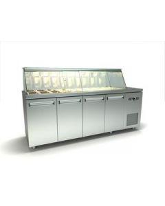 Vitrina refrigerate – saladette, capacitate 20 GN1/4, dimensiuni 225x70x126 cm, geam curb