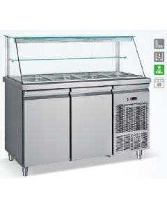 Saladeta vitrina refrigerata , capacitate 4 tavi GN1/1, dimensiuni, 139x70x130 cm