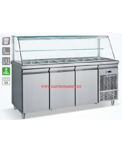 Saladeta vitrina refrigerata , capacitate 5 tavi GN1/1, dimensiuni, 185x70x130 cm