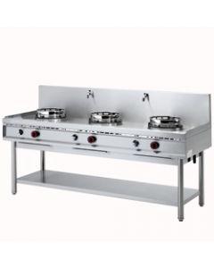 Masina de gatit wok pe gaz cu 3 arzatoare, putere 3x15 kw,